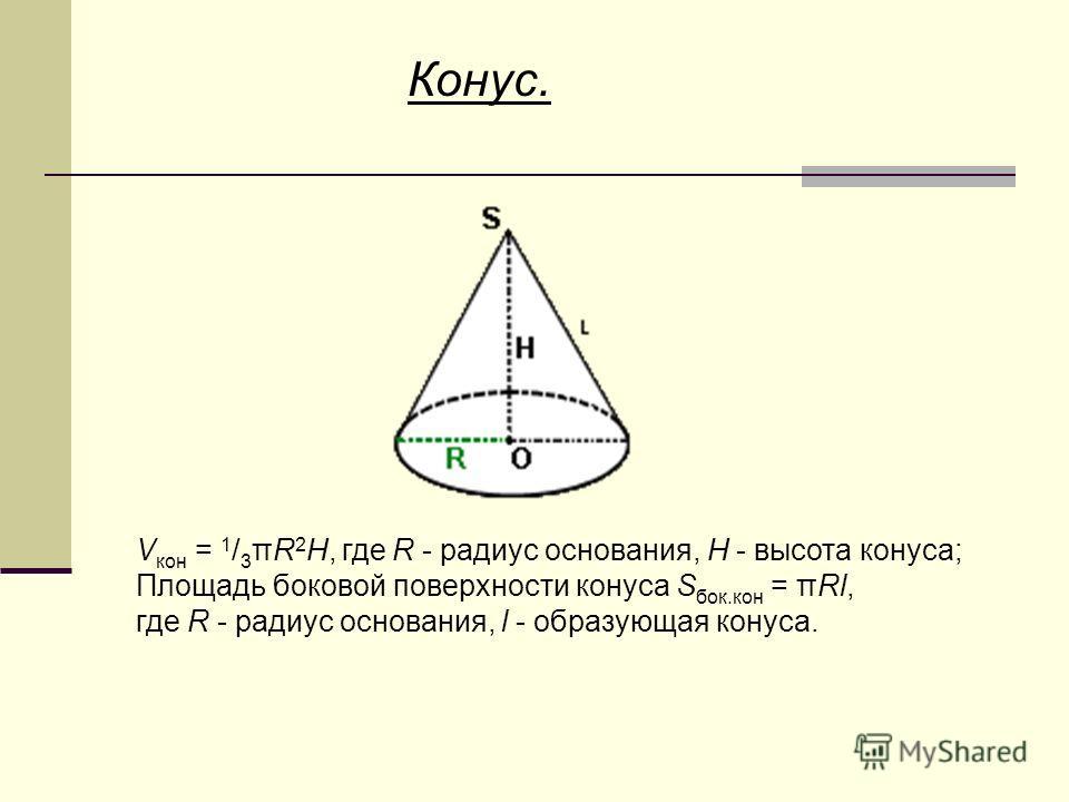 Конус. V кон = 1 / 3 πR 2 H, где R - радиус основания, H - высота конуса; Площадь боковой поверхности конуса S бок.кон = πRl, где R - радиус основания, l - образующая конуса.