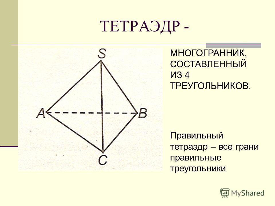 ТЕТРАЭДР - МНОГОГРАННИК, СОСТАВЛЕННЫЙ ИЗ 4 ТРЕУГОЛЬНИКОВ. Правильный тетраэдр – все грани правильные треугольники