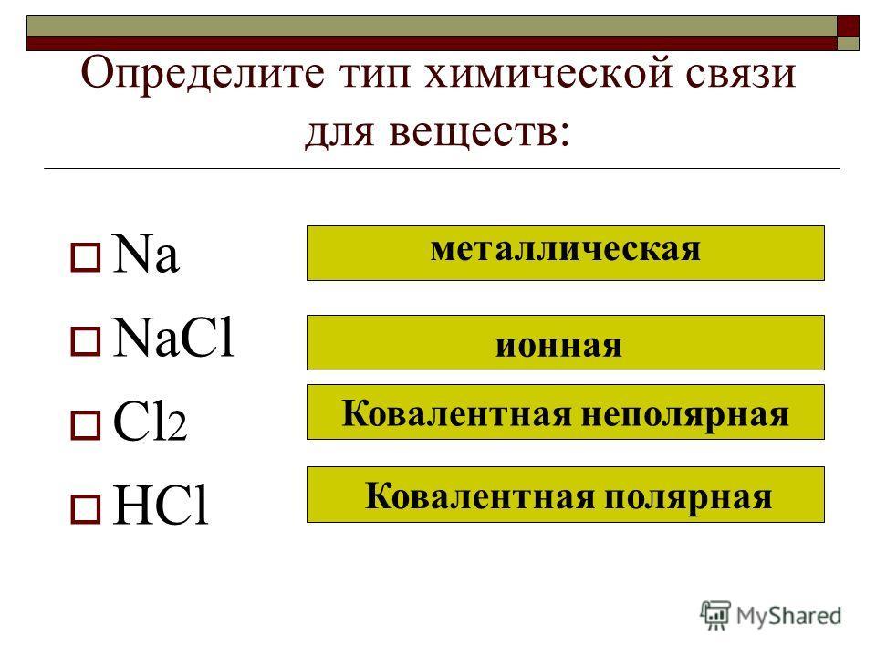 Определите тип химической связи для веществ: Na NaCl Cl 2 HCl металлическая ионная Ковалентная неполярная Ковалентная полярная