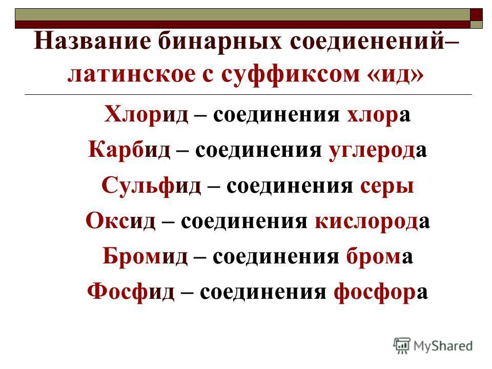 Название бинарных соедиенений– латинское с суффиксом «ид» Хлорид – соединения хлора Карбид – соединения углерода Сульфид – соединения серы Оксид – соединения кислорода Бромид – соединения брома Фосфид – соединения фосфора