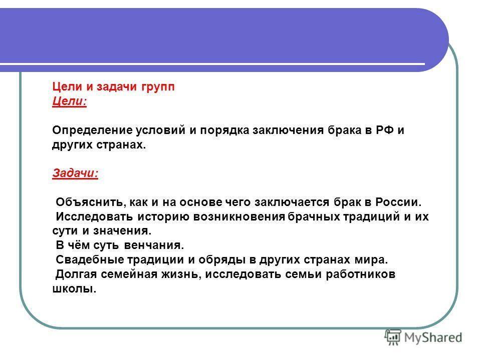 Цели и задачи групп Цели: Определение условий и порядка заключения брака в РФ и других странах. Задачи: Объяснить, как и на основе чего заключается брак в России. Исследовать историю возникновения брачных традиций и их сути и значения. В чём суть вен