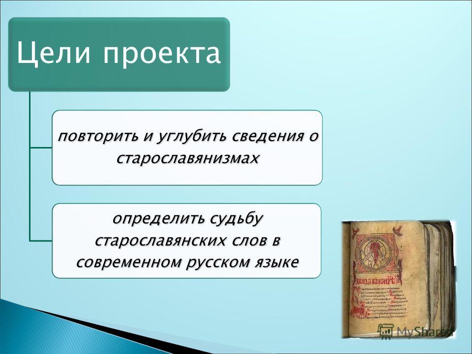Цели проекта повторить и углубить сведения о старославянизмах определить судьбу старославянских слов в современном русском языке