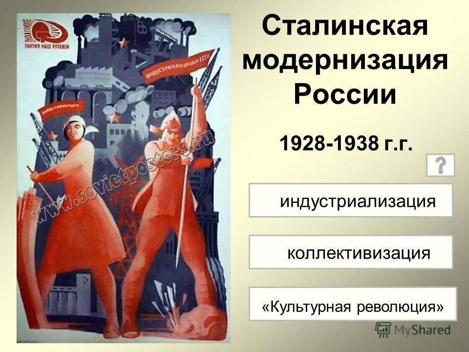 Сталинская модернизация России 1928-1938 г.г. ко «ку индустриализация коллективизация «Культурная революция»