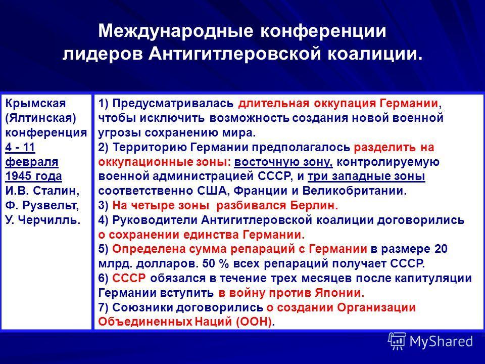Крымская (Ялтинская) конференция 4 - 11 февраля 1945 года И.В. Сталин, Ф. Рузвельт, У. Черчилль. 1) Предусматривалась длительная оккупация Германии, чтобы исключить возможность создания новой военной угрозы сохранению мира. 2) Территорию Германии пре