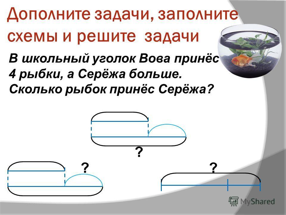 Дополните задачи, заполните схемы и решите задачи В школьный уголок Вова принёс 4 рыбки, а Серёжа больше. Сколько рыбок принёс Серёжа? ?? ?