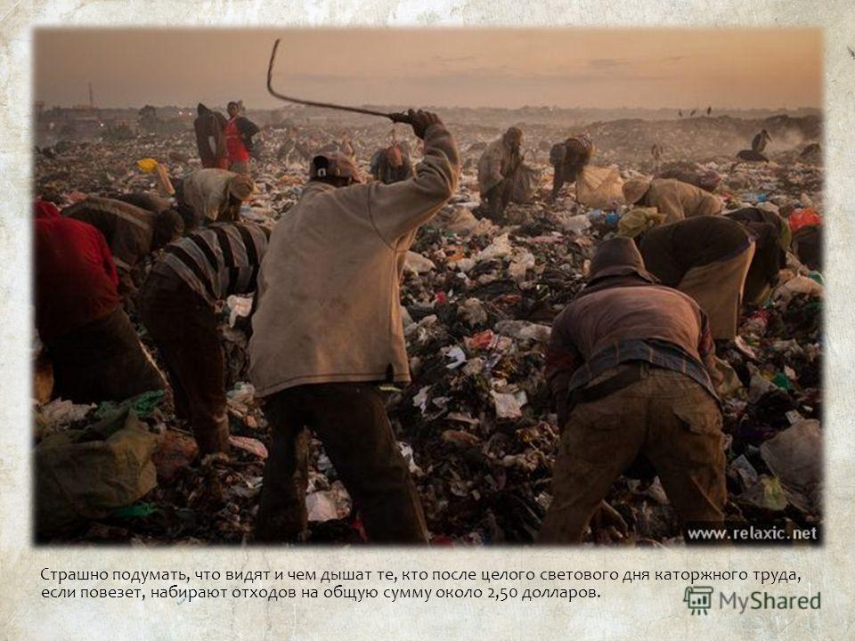 Страшно подумать, что видят и чем дышат те, кто после целого светового дня каторжного труда, если повезет, набирают отходов на общую сумму около 2,50 долларов.