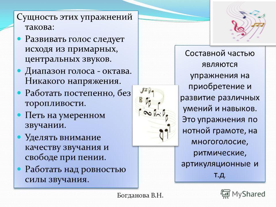 Вокально-хоровые упражнения. категории. применяются вне связи с каким- либо конкретным произведением. Они способствуют последовательно му овладению средствами вокально- хоровой выразительности, достижению более высокого уровня художественного исполне