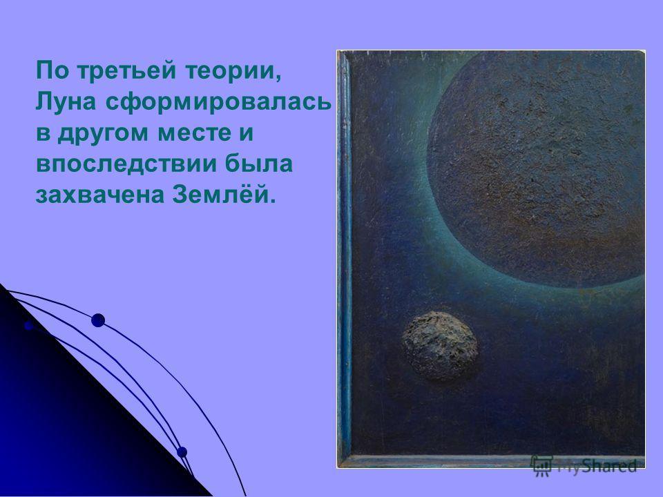 По третьей теории, Луна сформировалась в другом месте и впоследствии была захвачена Землёй.