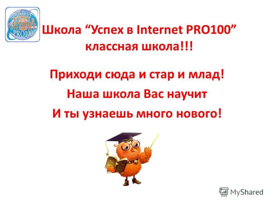 Школа Успех в Internet PRO100 классная школа!!! Приходи сюда и стар и млад! Наша школа Вас научит И ты узнаешь много нового!
