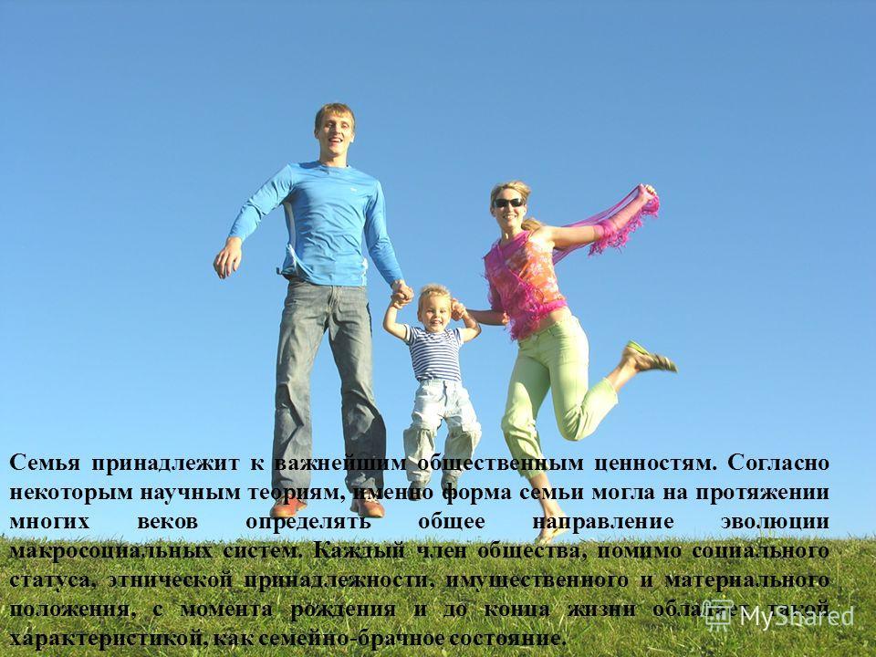 Семья – ячейка (малая социальная группа) общества, важнейшая форма организации личного быта, основанная на супружеском союзе и родственных связях, т.е. отношениях между мужем и женой, родителями и детьми, братьями и сестрами, и другими родственниками
