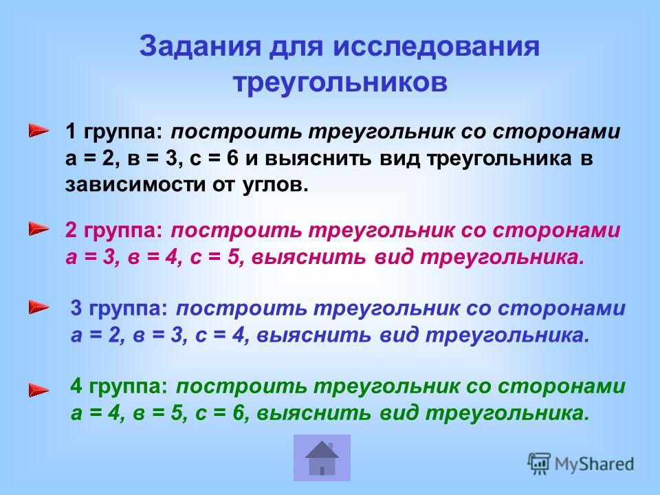 1 группа: построить треугольник со сторонами а = 2, в = 3, с = 6 и выяснить вид треугольника в зависимости от углов. 2 группа: построить треугольник со сторонами а = 3, в = 4, с = 5, выяснить вид треугольника. 3 группа: построить треугольник со сторо
