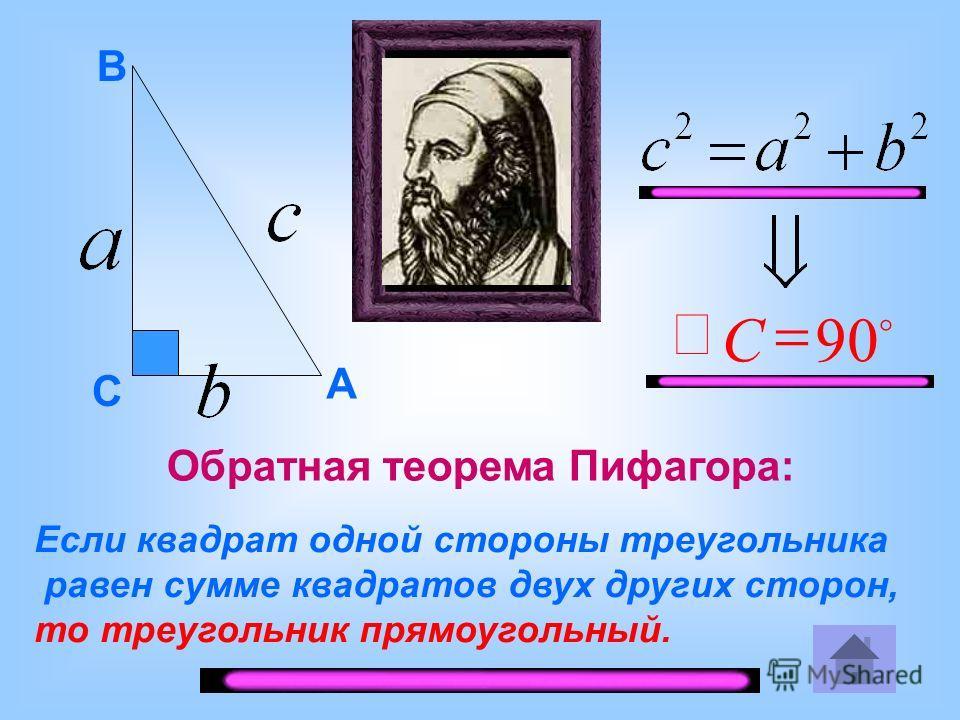 Если квадрат одной стороны треугольника равен сумме квадратов двух других сторон, то треугольник прямоугольный. 90 С A B C Обратная теорема Пифагора: