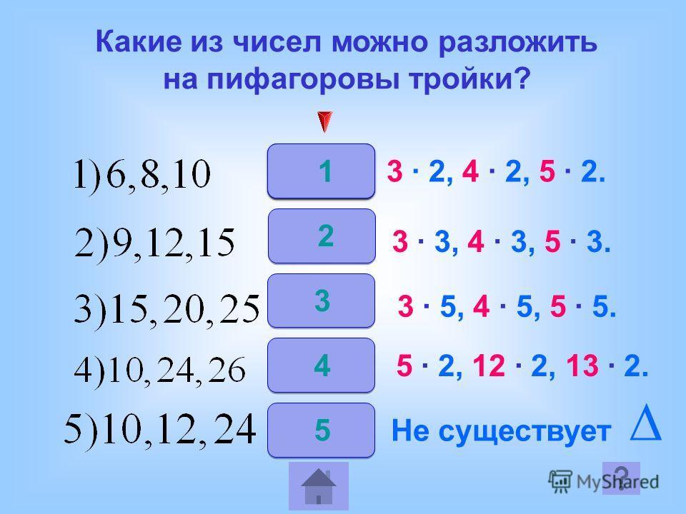 2 3 4 5 3 2, 4 2, 5 2. 3 3, 4 3, 5 3. 3 5, 4 5, 5 5. 5 2, 12 2, 13 2. Не существует 1 Какие из чисел можно разложить на пифагоровы тройки?