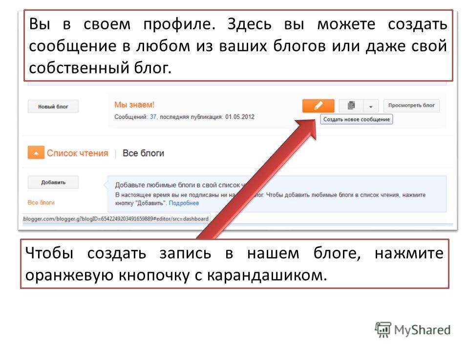 Вы в своем профиле. Здесь вы можете создать сообщение в любом из ваших блогов или даже свой собственный блог. Чтобы создать запись в нашем блоге, нажмите оранжевую кнопочку с карандашиком.
