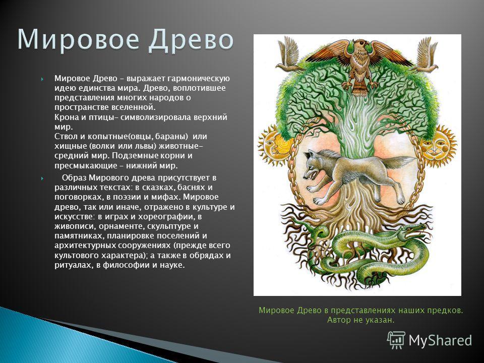 Вышеперечисленные факты образуют единство культур: А) Мировое дерево – ключевой образ искусства (представление человека о строении мира). Б) Мир (космос, вселенная) – противопоставляется беспорядку и хаосу. Многообразие и национальная самобытность ку
