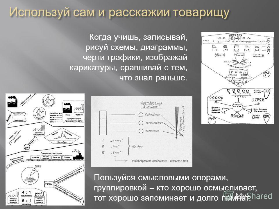 Пользуйся смысловыми опорами, группировкой – кто хорошо осмысливает, тот хорошо запоминает и долго помнит. Когда учишь, записывай, рисуй схемы, диаграммы, черти графики, изображай карикатуры, сравнивай с тем, что знал раньше.