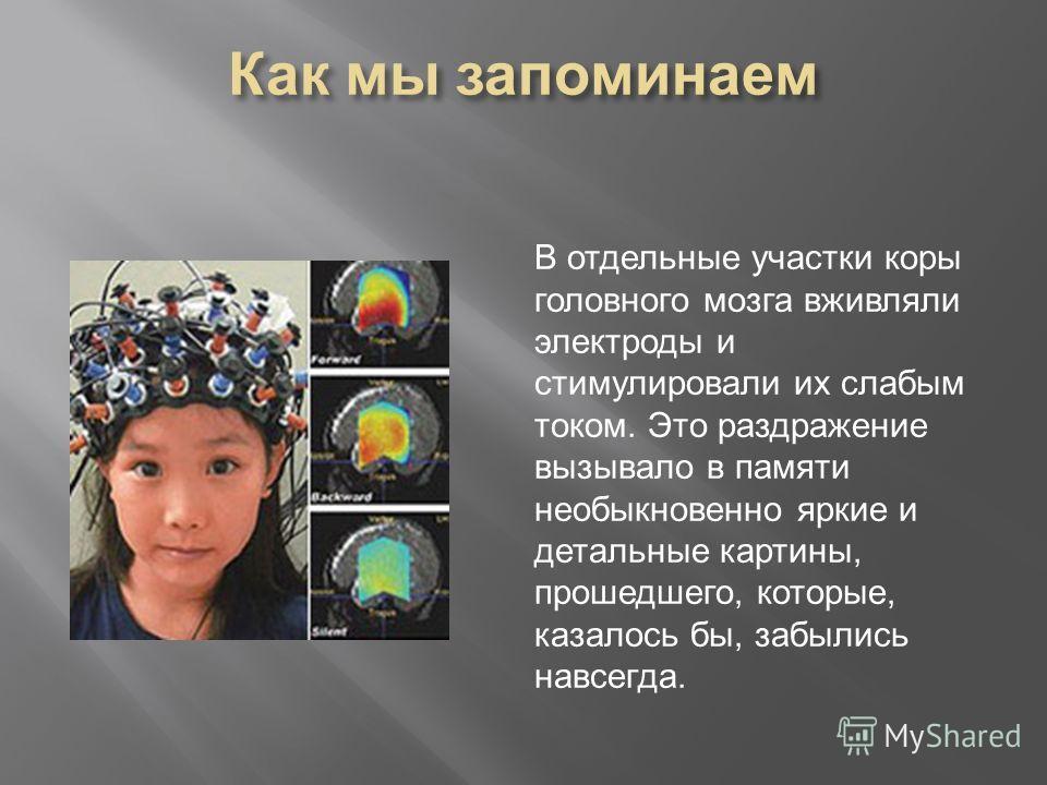 В отдельные участки коры головного мозга вживляли электроды и стимулировали их слабым током. Это раздражение вызывало в памяти необыкновенно яркие и детальные картины, прошедшего, которые, казалось бы, забылись навсегда.