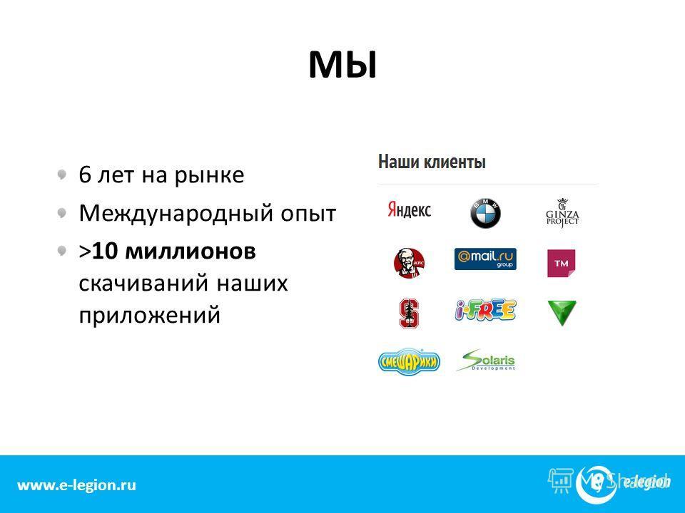 www.e-legion.com МЫ 6 лет на рынке Международный опыт >10 миллионов скачиваний наших приложений 2 www.e-legion.ru
