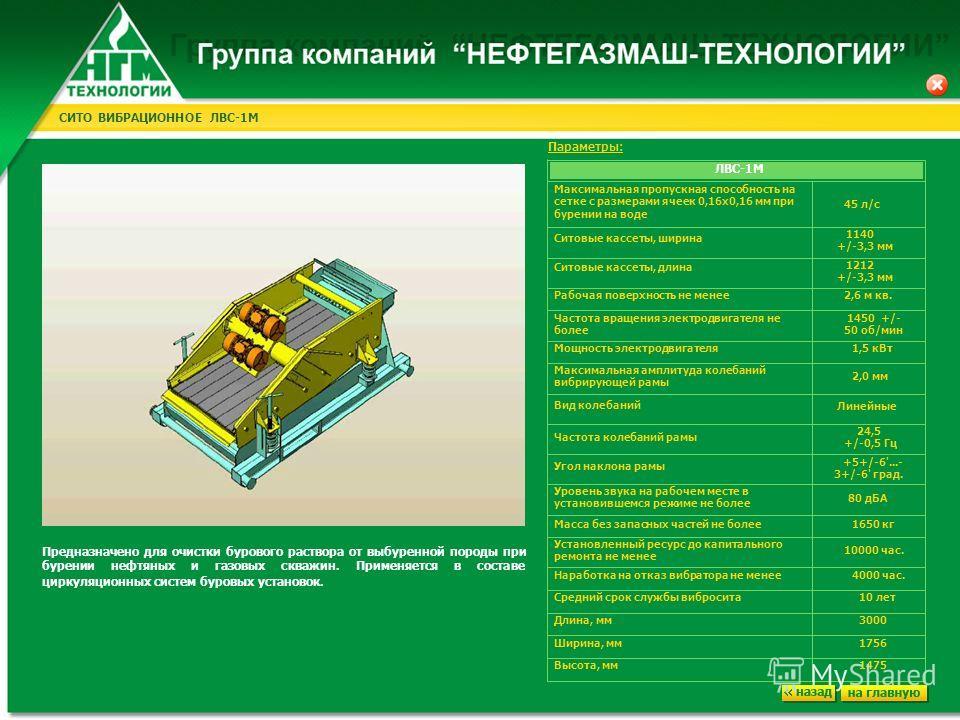 СИТО ВИБРАЦИОННОЕ ЛВС-1М Максимальная пропускная способность на сетке с размерами ячеек 0,16х0,16 мм при бурении на воде Ситовые кассеты, ширина 45 л/с 1140 +/-3,3 мм Ситовые кассеты, длина 1212 +/-3,3 мм Рабочая поверхность не менее 2,6 м кв. Частот