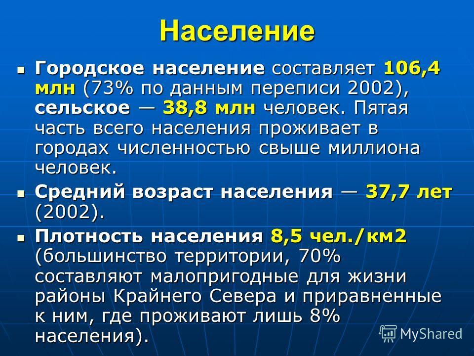 Население Население 144,2 млн человек (в 2004 г., седьмое место в мире). Население 144,2 млн человек (в 2004 г., седьмое место в мире). Русские составляют 116 млн 80% (2002, перепись); Русские составляют 116 млн 80% (2002, перепись); проживает 156 на