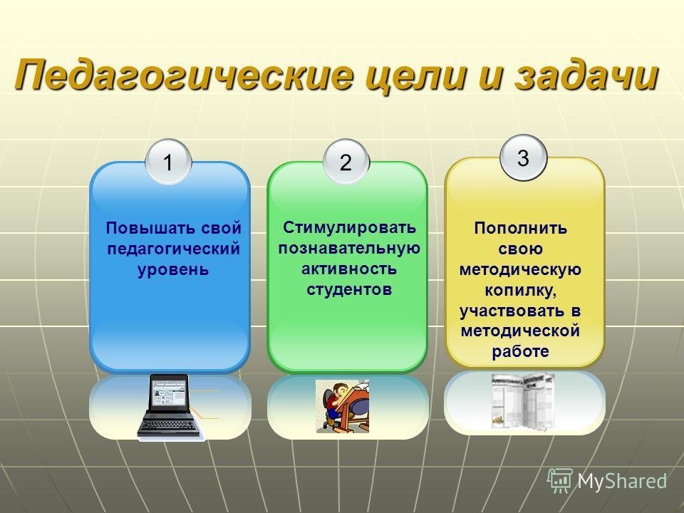 12 3 Педагогические цели и задачи Повышать свой педагогический уровень Стимулировать познавательную активность студентов Пополнить свою методическую копилку, участвовать в методической работе