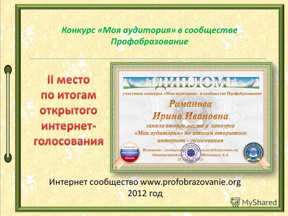 Конкурс «Моя аудитория» в сообществе Профобразование Интернет сообщество www.profobrazovanie.org 2012 год