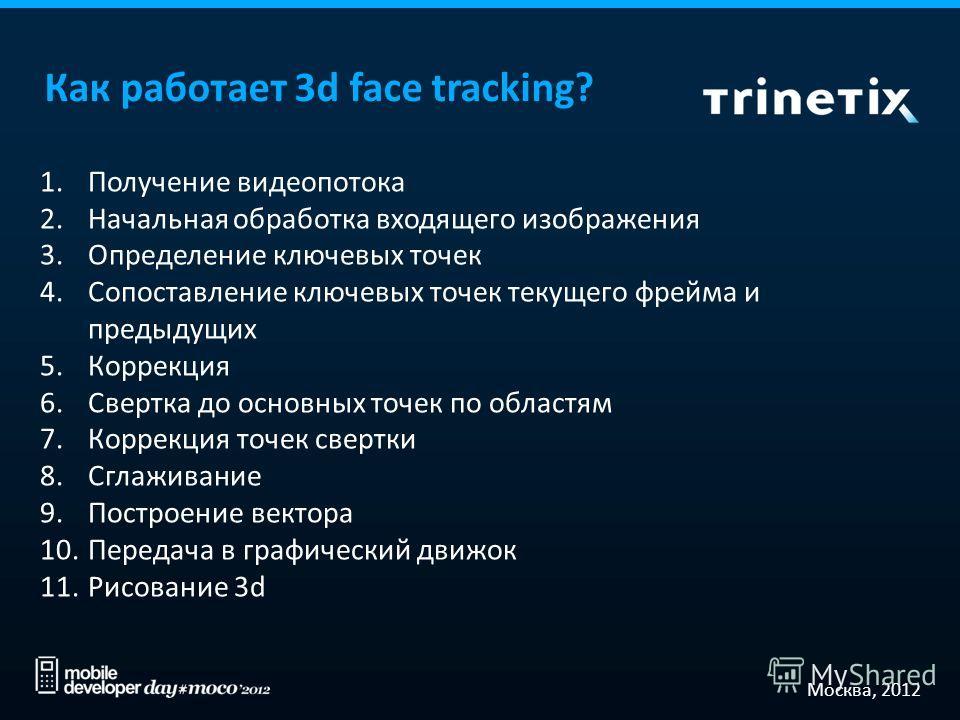 Москва, 2012 Как работает 3d face tracking? 1.Получение видеопотока 2.Начальная обработка входящего изображения 3.Определение ключевых точек 4.Сопоставление ключевых точек текущего фрейма и предыдущих 5.Коррекция 6.Свертка до основных точек по област