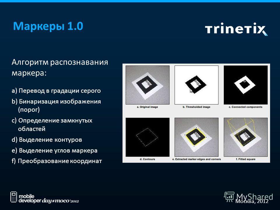 Москва, 2012 Маркеры 1.0 Алгоритм распознавания маркера: a) Перевод в градации серого b) Бинаризация изображения (порог) c) Определение замкнутых областей d) Выделение контуров e) Выделение углов маркера f) Преобразование координат