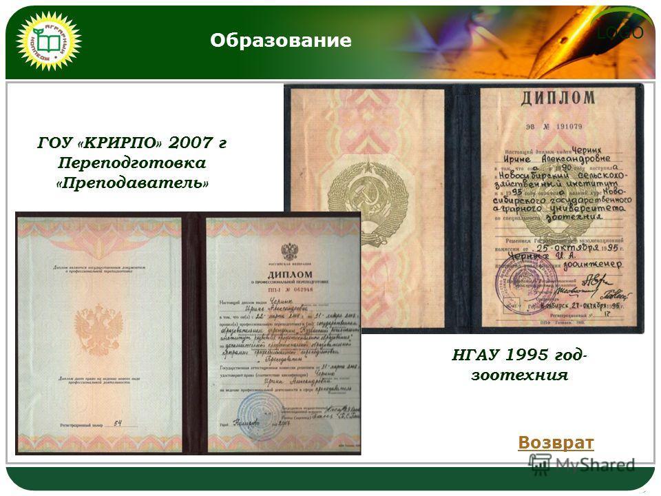 LOGO Образование НГАУ 1995 год- зоотехния ГОУ «КРИРПО» 2007 г Переподготовка «Преподаватель» Возврат
