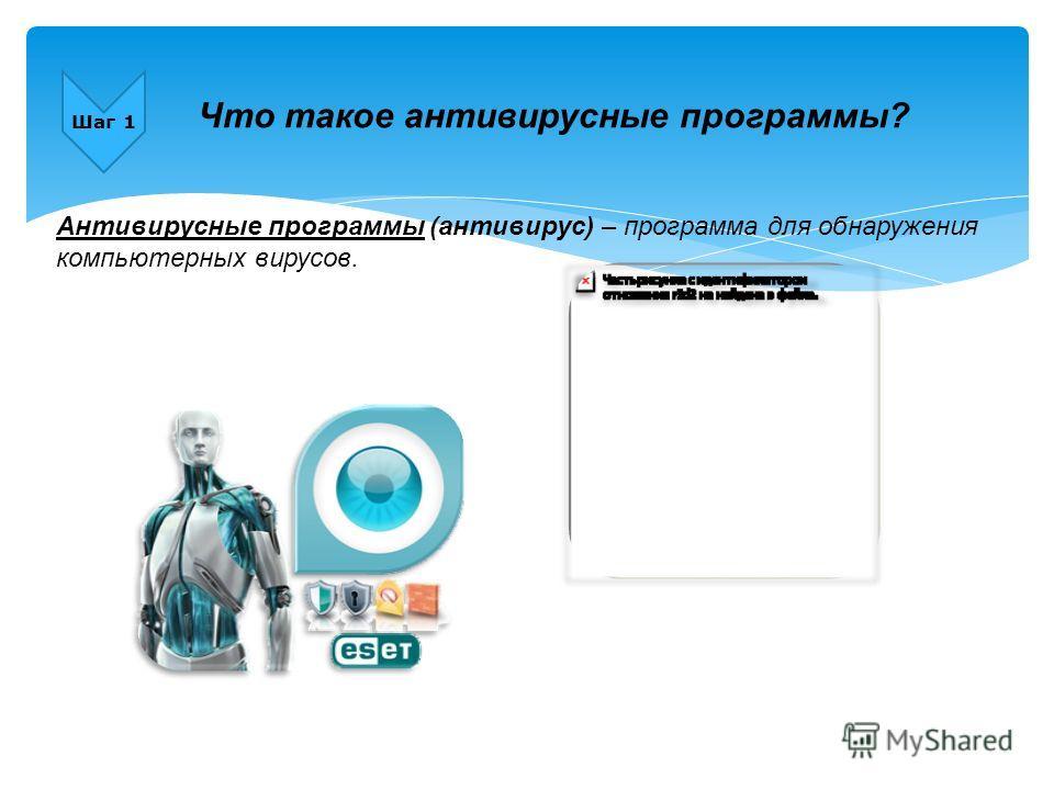 Шаг 1 Что такое антивирусные программы? Антивирусные программы (антивирус) – программа для обнаружения компьютерных вирусов.
