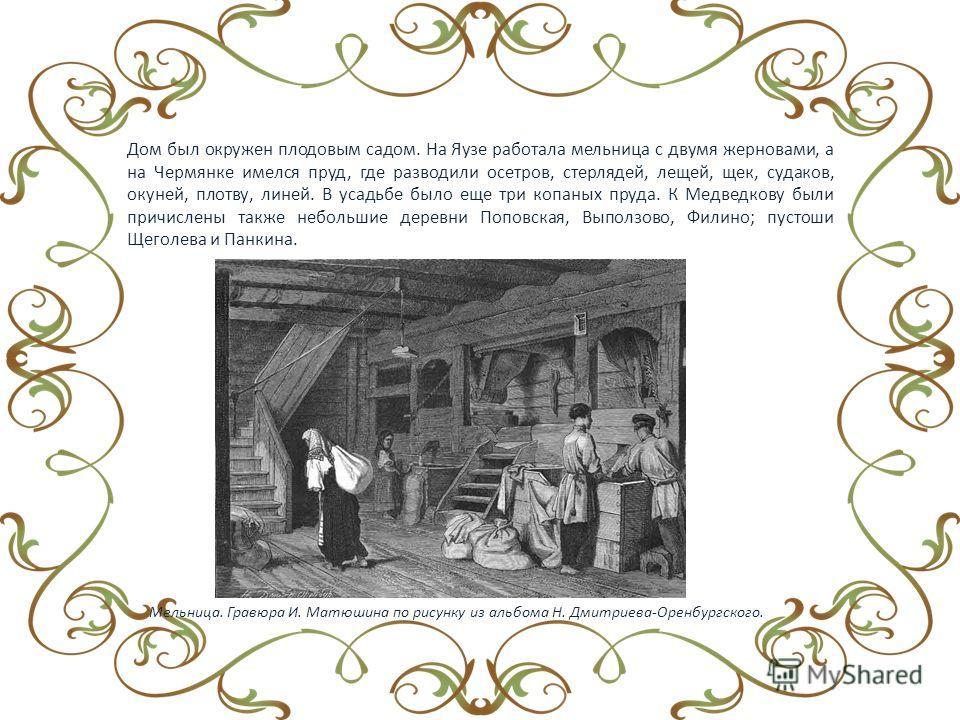Дом был окружен плодовым садом. На Яузе работала мельница с двумя жерновами, а на Чермянке имелся пруд, где разводили осетров, стерлядей, лещей, щек, судаков, окуней, плотву, линей. В усадьбе было еще три копаных пруда. К Медведкову были причислены т