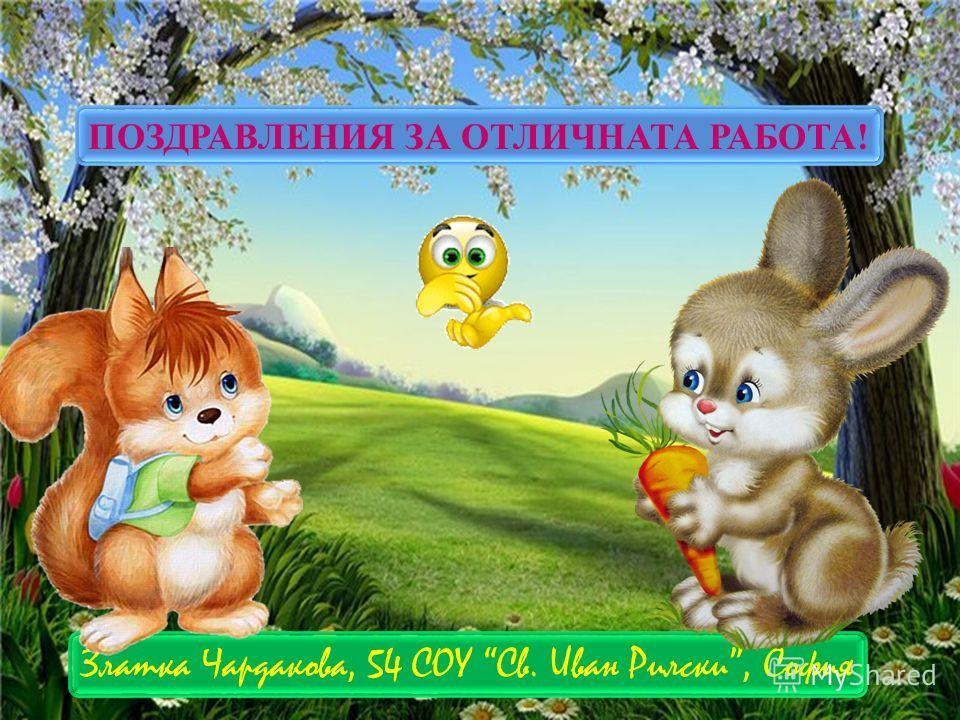 ПОЗДРАВЛЕНИЯ ЗА ОТЛИЧНАТА РАБОТА! Златка Чардакова, 54 СОУ Св. Иван Рилски, София