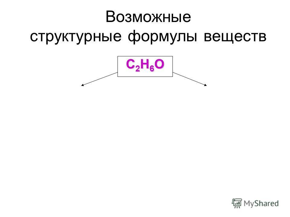 Возможные структурные формулы веществ С2Н6ОС2Н6ОС2Н6ОС2Н6О