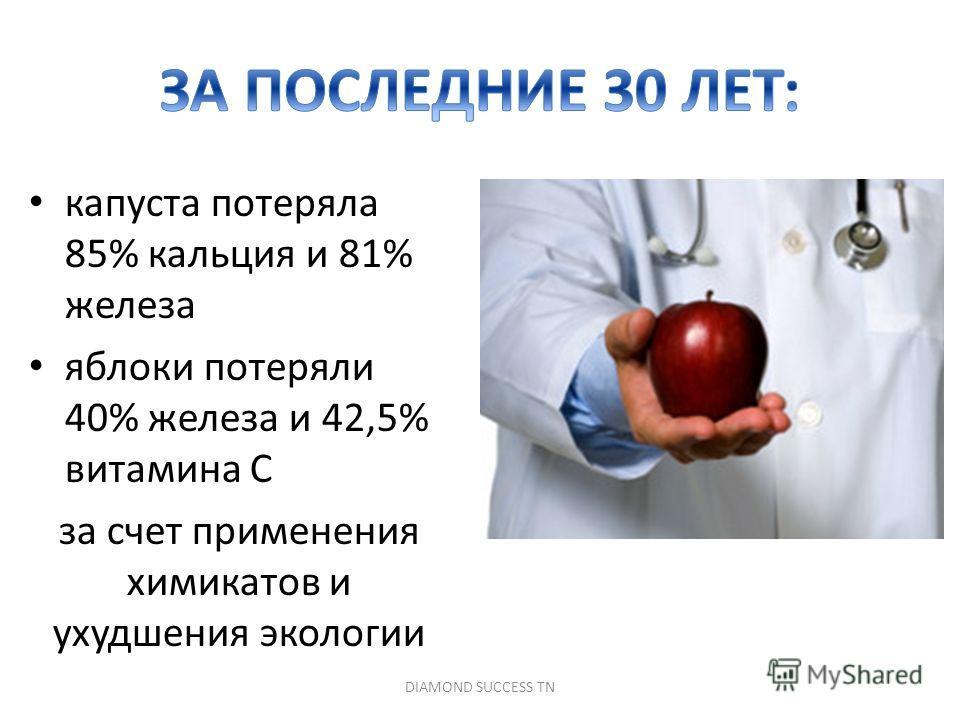 капуста потеряла 85% кальция и 81% железа яблоки потеряли 40% железа и 42,5% витамина С за счет применения химикатов и ухудшения экологии DIAMOND SUCCESS TN