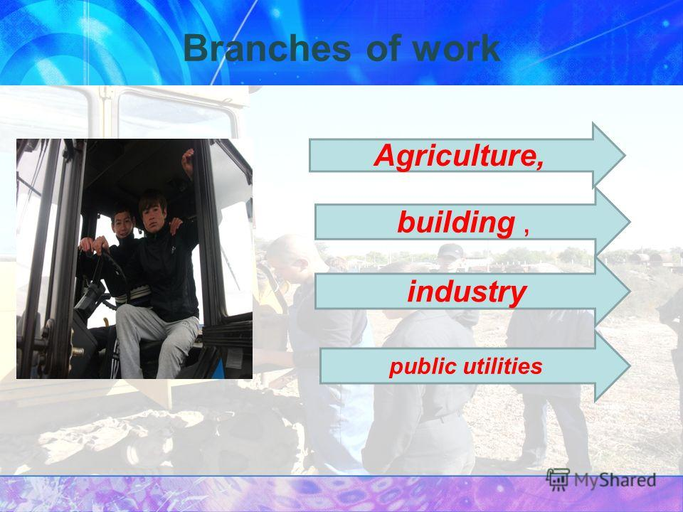 Branches of work Agriculture, building, industry public utilities