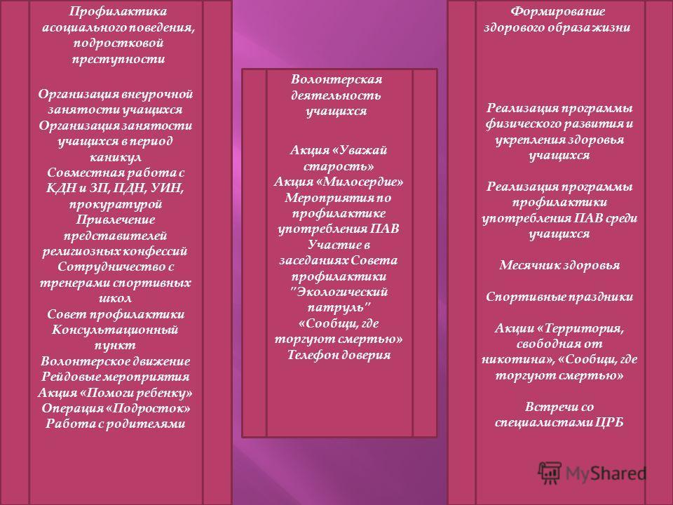 Акция «Уважай старость» Акция «Милосердие» Мероприятия по профилактике употребления ПАВ Участие в заседаниях Совета профилактики