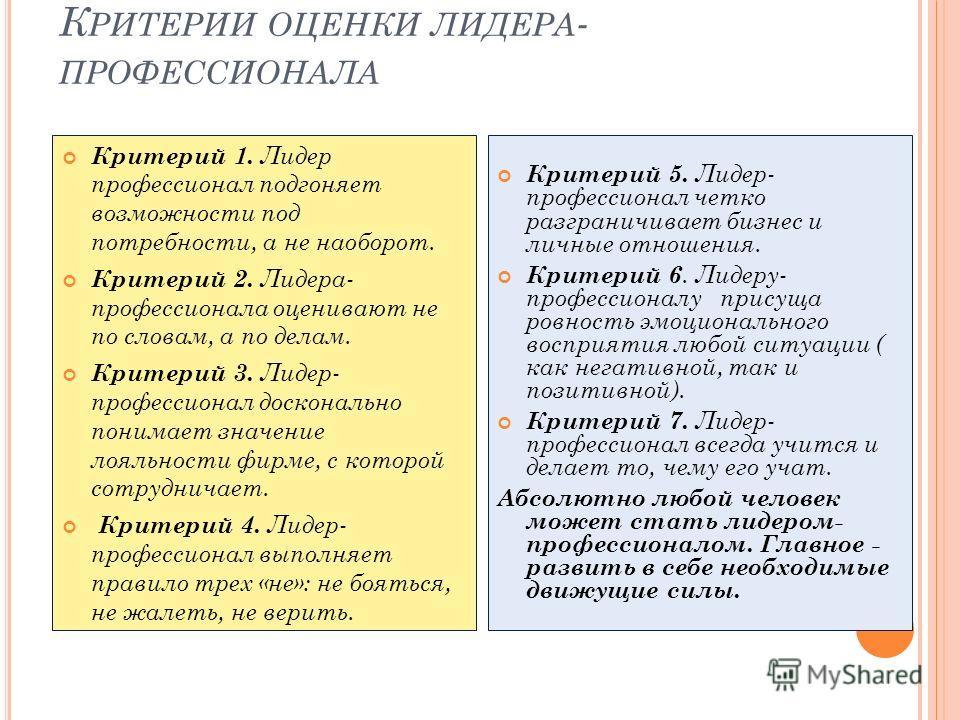К РИТЕРИИ ОЦЕНКИ ЛИДЕРА - ПРОФЕССИОНАЛА Критерий 1. Лидер профессионал подгоняет возможности под потребности, а не наоборот. Критерий 2. Лидера- профессионала оценивают не по словам, а по делам. Критерий 3. Лидер- профессионал досконально понимает зн