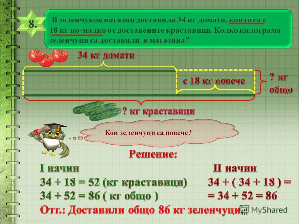 В зеленчуков магазин доставили 34 кг домати, които са с 18 кг по-малко от доставените краставици. Колко килограма зеленчуци са доставили в магазина? 8. 8. Кои зеленчуци са повече?