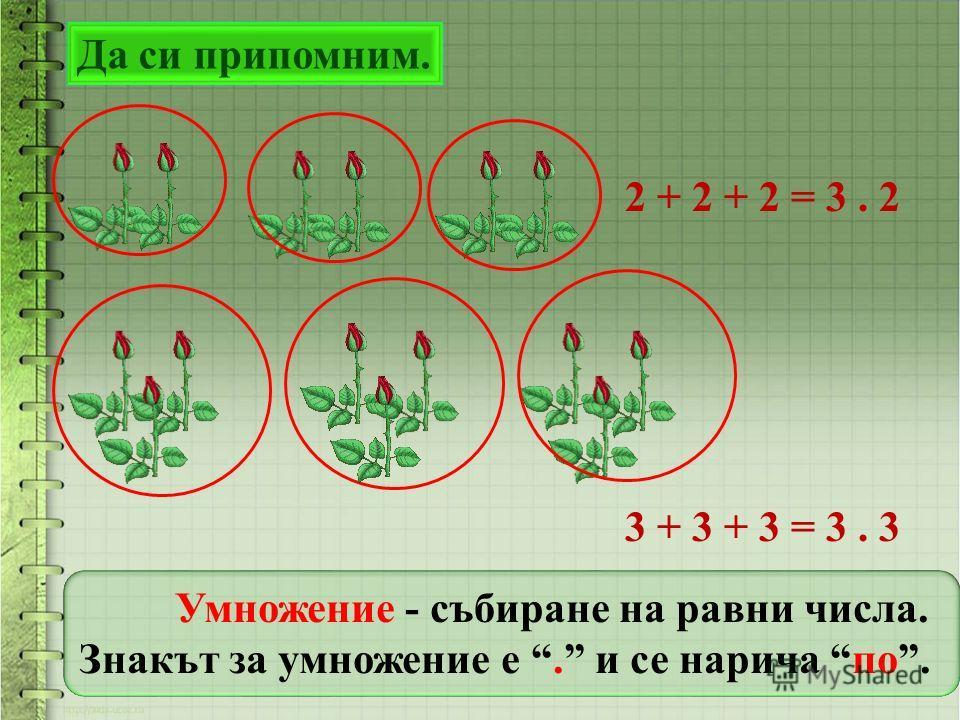 Да си припомним. 2 + 2 + 2 = 3. 2 3 + 3 + 3 = 3. 3 Умножение - събиране на равни числа. Знакът за умножение е. и се нарича по.