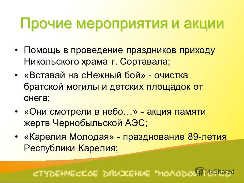 Прочие мероприятия и акции Помощь в проведение праздников приходу Никольского храма г. Сортавала; «Вставай на сНежный бой» - очистка братской могилы и детских площадок от снега; «Они смотрели в небо…» - акция памяти жертв Чернобыльской АЭС; «Карелия