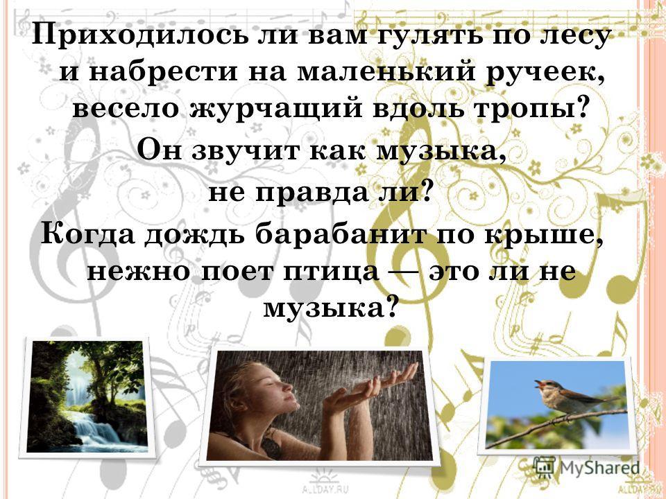 Приходилось ли вам гулять по лесу и набрести на маленький ручеек, весело журчащий вдоль тропы? Он звучит как музыка, не правда ли? Когда дождь барабанит по крыше, нежно поет птица это ли не музыка?