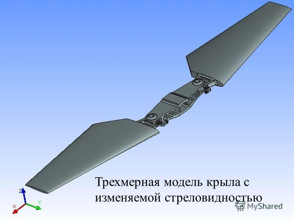 Трехмерная модель крыла с изменяемой стреловидностью
