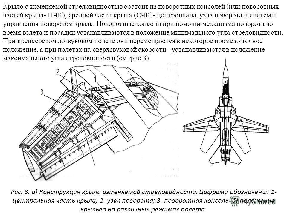 Крыло с изменяемой стреловидностью состоит из поворотных консолей (или поворотных частей крыла- ПЧК), средней части крыла (СЧК)- центроплана, узла поворота и системы управления поворотом крыла. Поворотные консоли при помощи механизма поворота во врем
