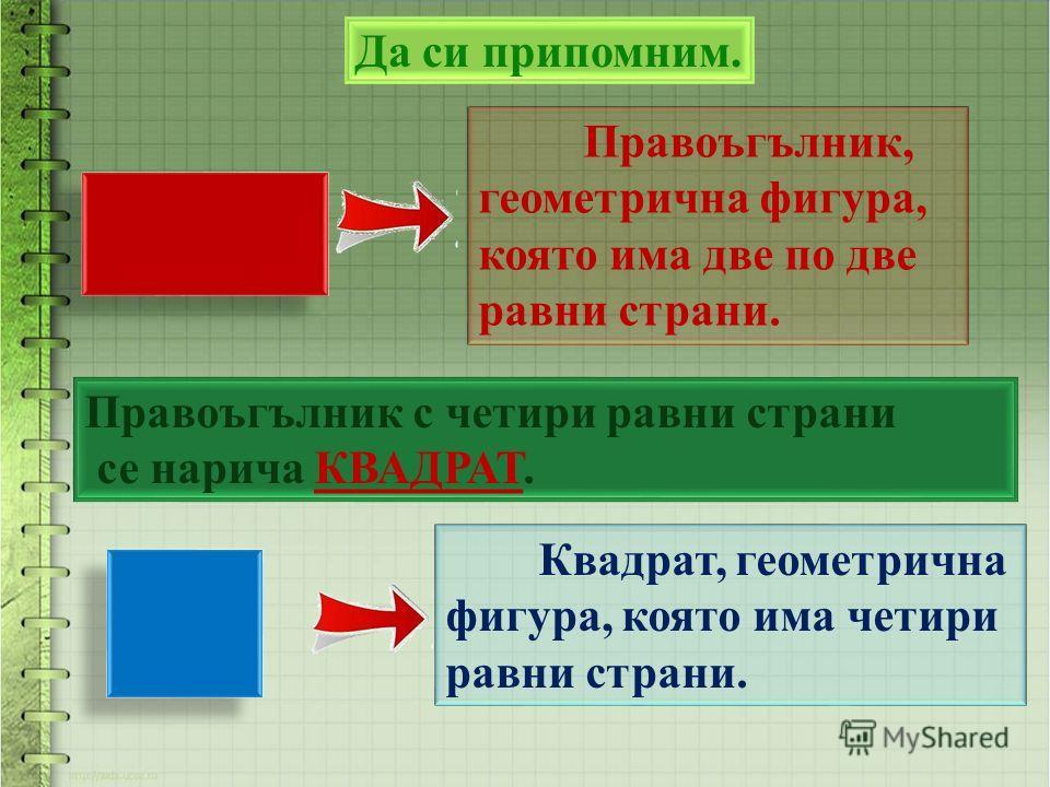 Да си припомним. Квадрат, геометрична фигура, която има четири равни страни. Правоъгълник, геометрична фигура, която има две по две равни страни. Правоъгълник с четири равни страни се нарича КВАДРАТ.