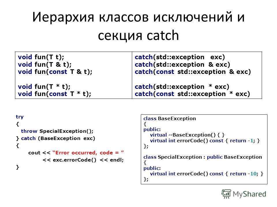 Иерархия классов исключений и секция catch try { throw SpecialException(); } catch (BaseException exc) { cout