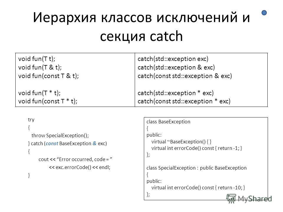 Иерархия классов исключений и секция catch try { throw SpecialException(); } catch (const BaseException & exc) { cout