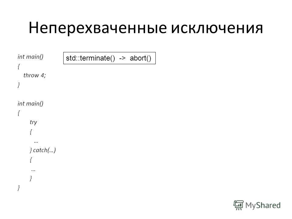 Неперехваченные исключения int main() { throw 4; } int main() { try { … } catch(…) { … } std::terminate() -> abort()