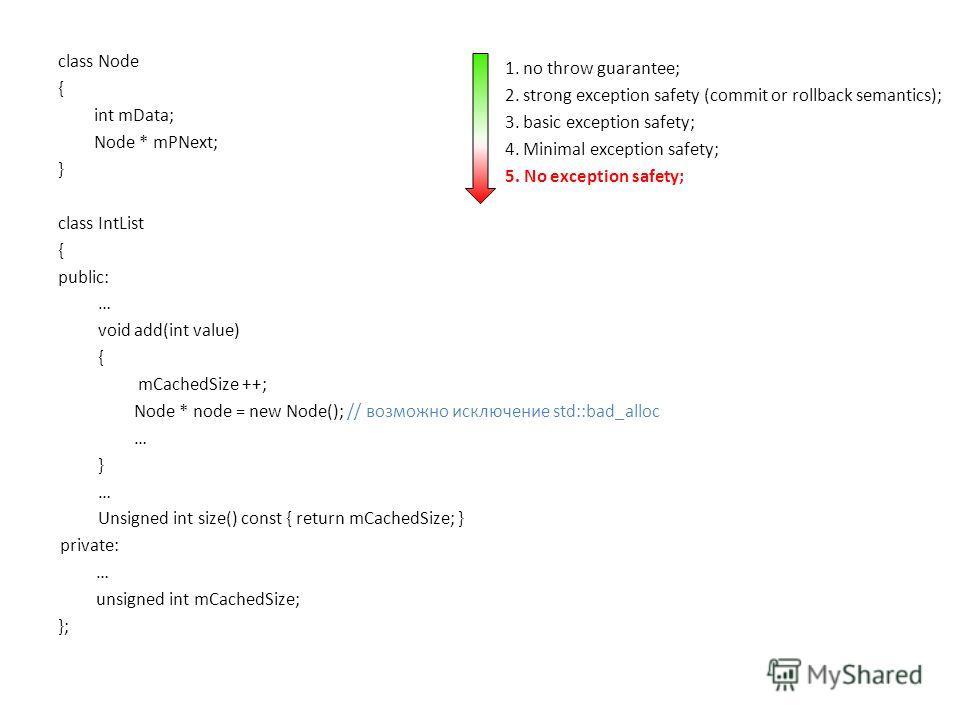 class Node { int mData; Node * mPNext; } class IntList { public: … void add(int value) { mCachedSize ++; Node * node = new Node(); // возможно исключение std::bad_alloc … } … Unsigned int size() const { return mCachedSize; } private: … unsigned int m