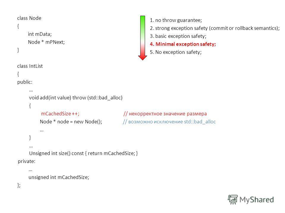 class Node { int mData; Node * mPNext; } class IntList { public: … void add(int value) throw (std::bad_alloc) { mCachedSize ++; // некорректное значение размера Node * node = new Node(); // возможно исключение std::bad_alloc … } … Unsigned int size()