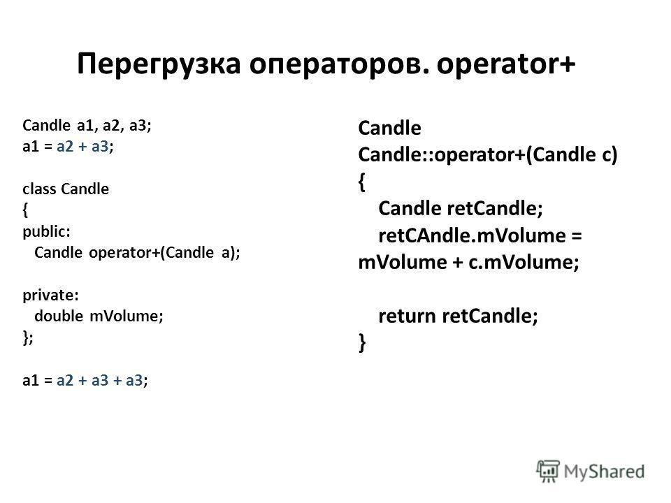 Перегрузка операторов. operator+ Candle a1, a2, a3; a1 = a2 + a3; class Candle { public: Candle operator+(Candle a); private: double mVolume; }; a1 = a2 + a3 + a3; Candle Candle::operator+(Candle c) { Candle retCandle; retCAndle.mVolume = mVolume + c